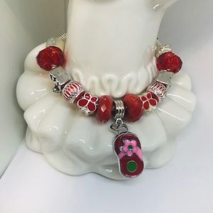 Accessories - New Girls Euro Bracelet in Red and Silver